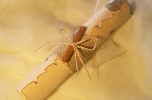 Convite de casamento de pergaminho