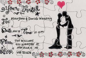Convite de casamento em formato de quebra-cabeça
